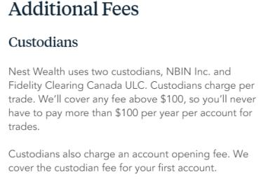 Nestwealth Custodian Fees